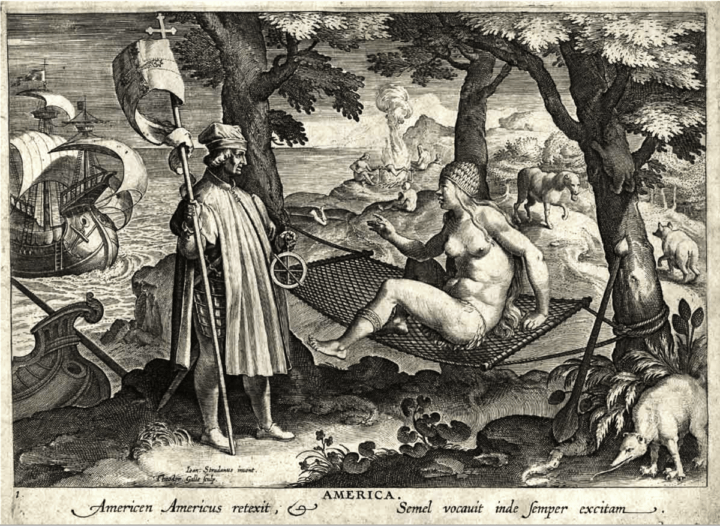 """Allegory of America"" engraving by Jan Galle after Jan van der Straet. The scene depicts Amerigo Vespucci representing the Old World explorers as he wakes up a Native American from her hammock slumber. Local flora and fauna dot the background, as well as natives having a cannibalistic roast. Johannes Stradanus or van der Straat, (1523-1605)"
