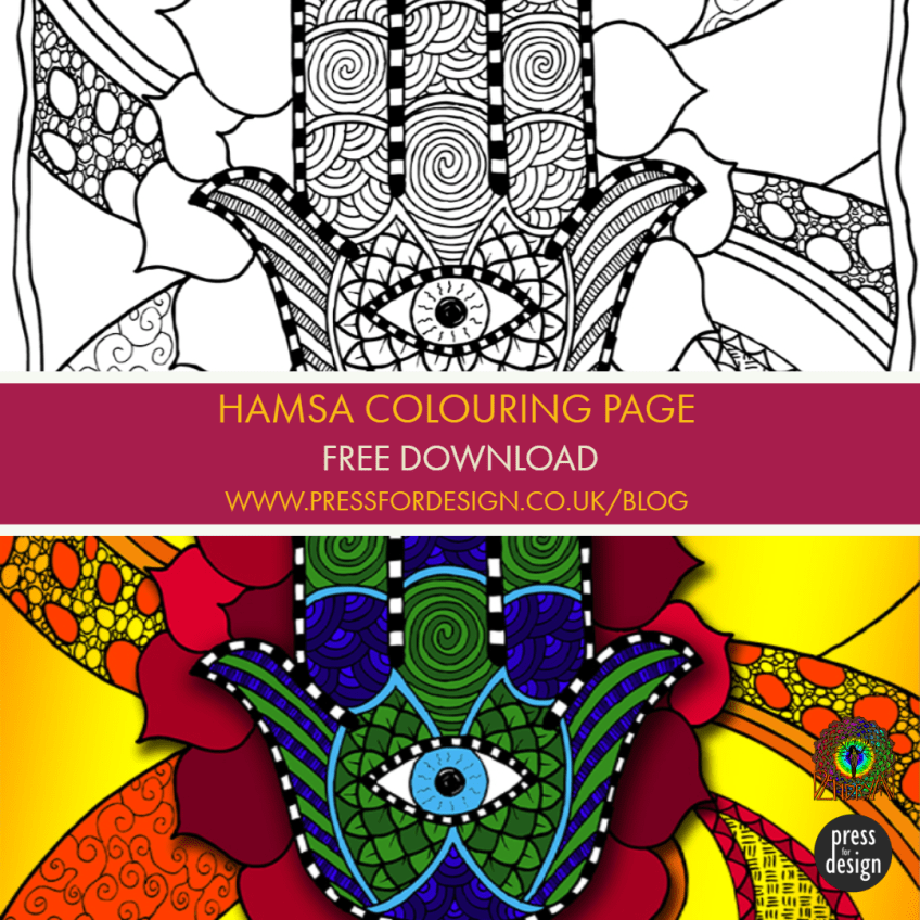 Get Creative: Hamsa / Hand of Fatima free colouring page download