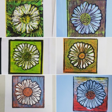 Reduction lino printing with community art group