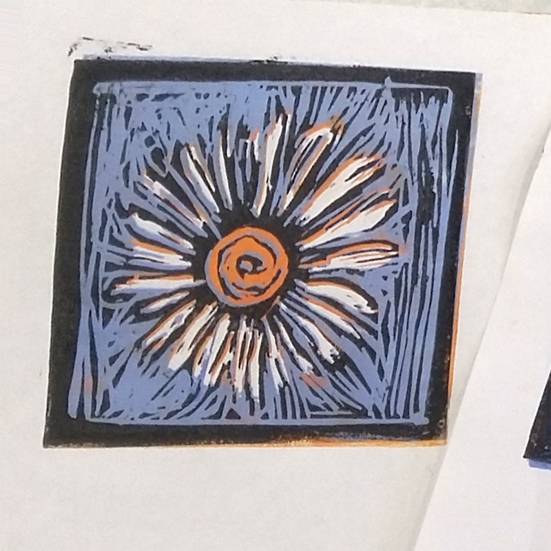 Reduction lino print created by a member of Lanchester Monday Art Group