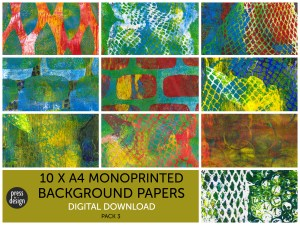 Monoprinted Background Papers pack 3