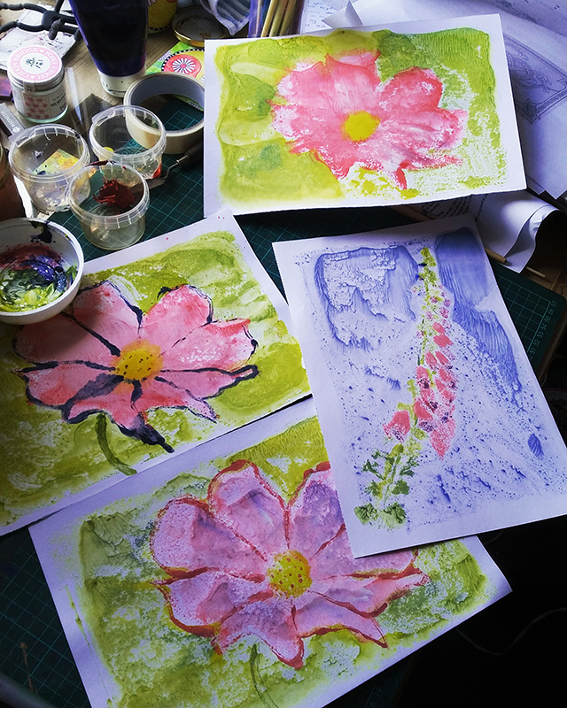 Floral monoprints with a community art group