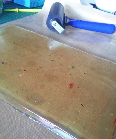 my home made gelatin printing plate