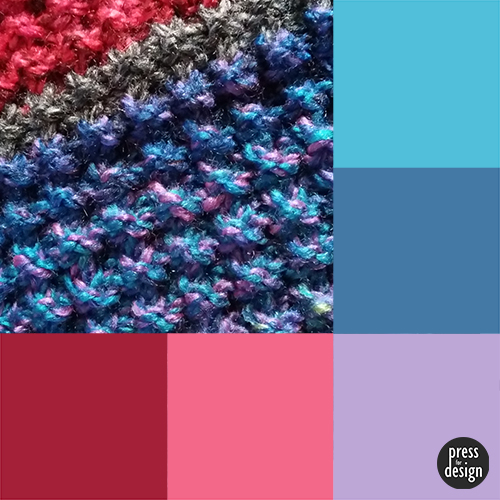 Knitted scarf colour inspiration swatch