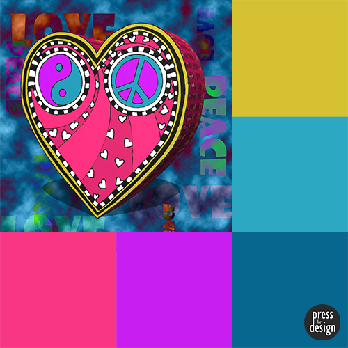 Peace and Love Heart colour inspiration swatch