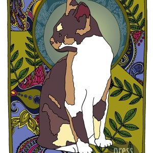 Ash – Art Nouveau Cat illustration