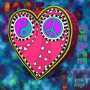 Peace and Love Trippy Heart illustration