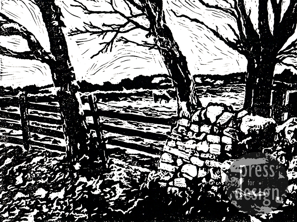 Step Over the Stile lino print