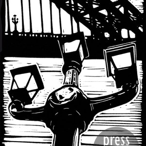The Lamps of Tyne Bridge lino print