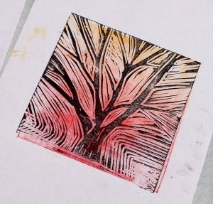 Lino print by a member of the Lanchester Monday Art Group