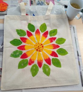 Student's hand printed shopping bag