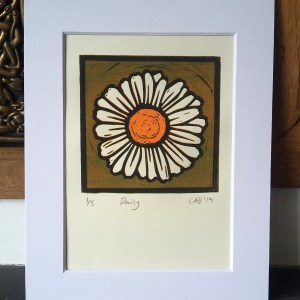 Daisy reduction lino print