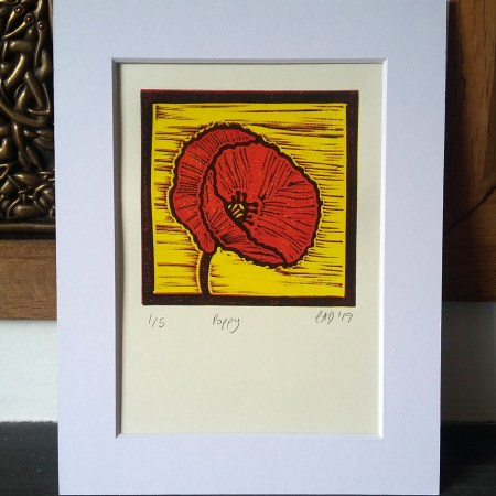 Poppy reduction lino print © 2019 Carrie Dennison