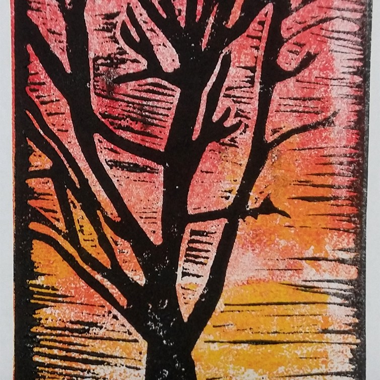Lino print made by a community art group member