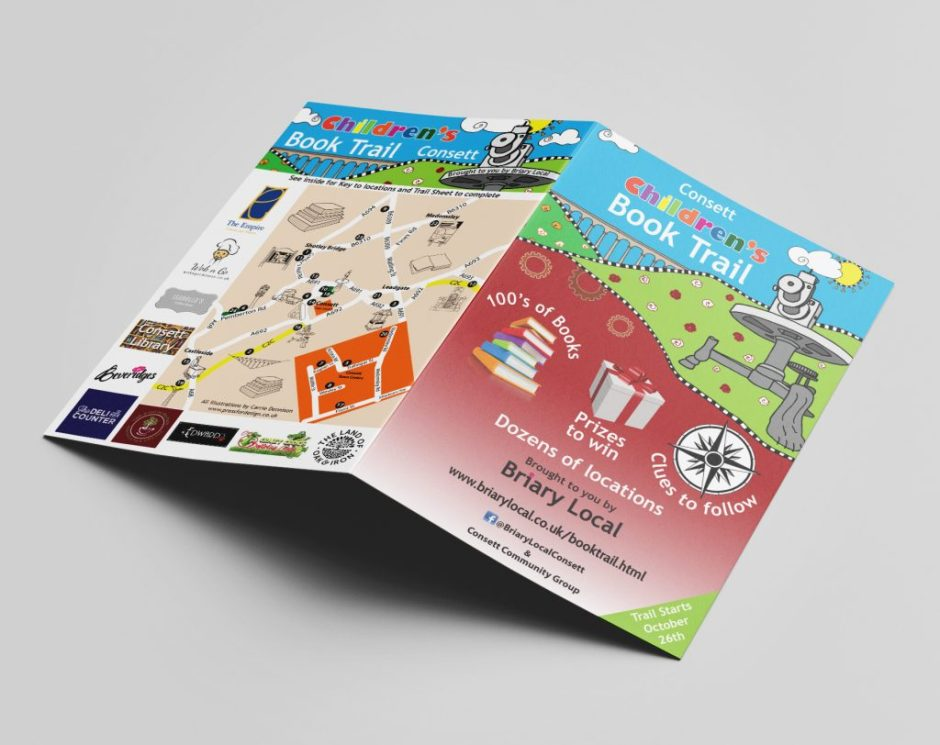 Consett Children's Book Trail leaflet layout and illustration