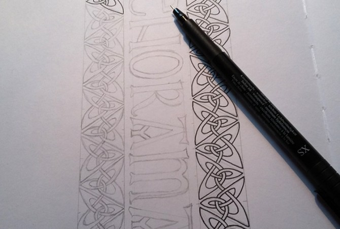 Celtic Dragons Penorama banner illustration