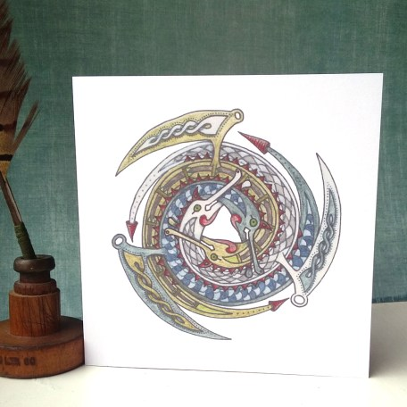 Celtic Spiralling Dragons greetings card