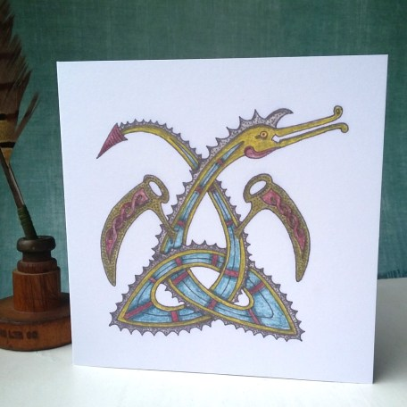 Triquetra Celtic Dragon greetings card