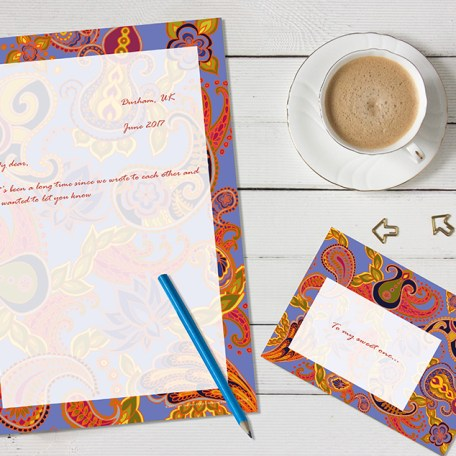 Dendryad Art - Paisley of 71 Blue stationery set