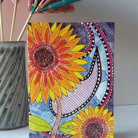Santanas Sunflowers greetings card