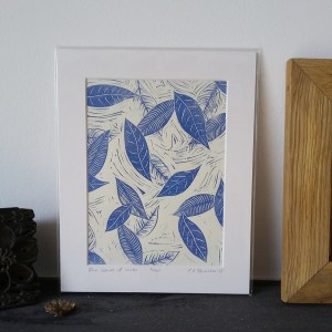 Blue Leaves of Winter lino print
