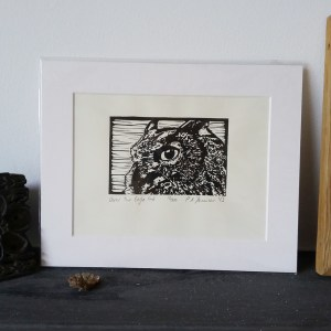 Oscar the Eagle Owl lino print