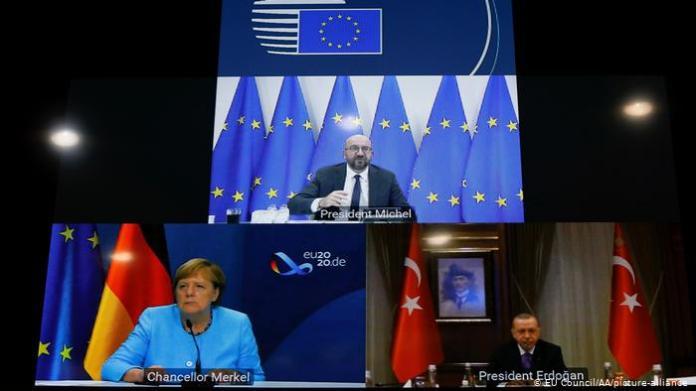 22 Eylül'de yapılan video konferans ( Merkel.Erdoğan ve Michel)