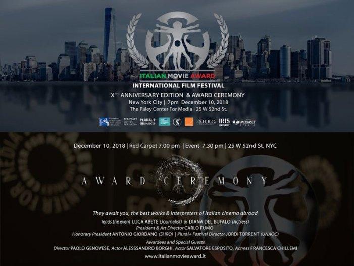 Italian Movie Award, a New York la premiazione il 10 dicembre