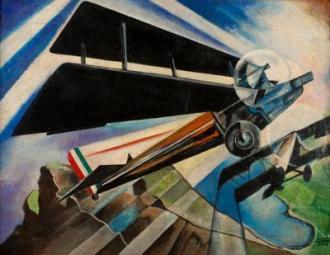 Il 6 Motori su Monti-mare, 1934, olio su tela, cm 54 x 73