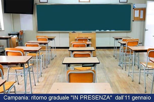 Campania: ritorno graduale a scuola dall'11 gennaio