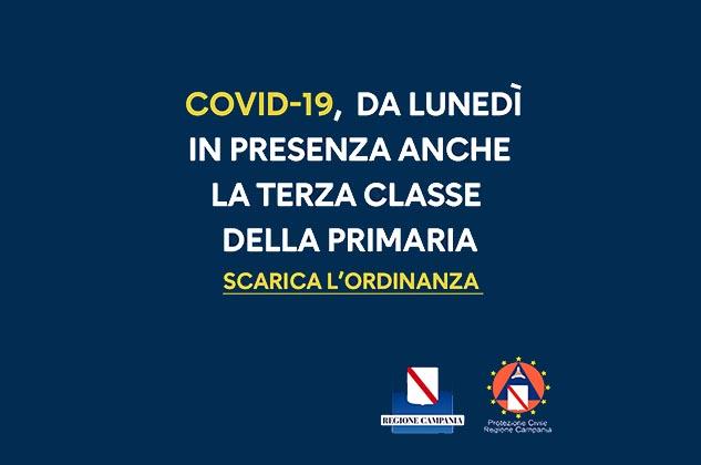 Covid, Campania: da lunedì scuola in presenza anche per le terze classi della primaria. Ordinanza n. 2 del 16/01/2021