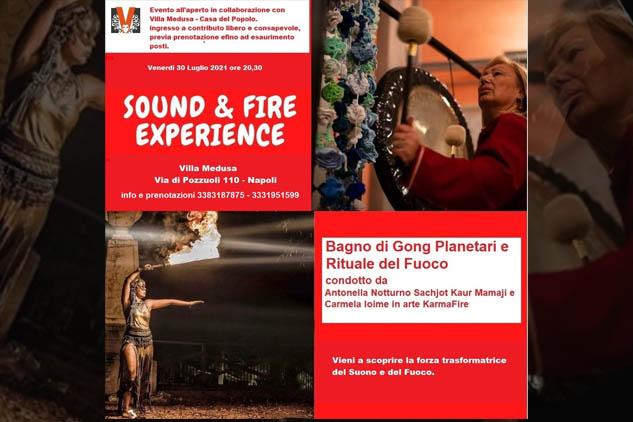 """Pozzuoli.""""Sound & Fire Experience"""" trasformare il fuoco in energia sacra. il progetto di Karm Fire e Antonella Notturno."""