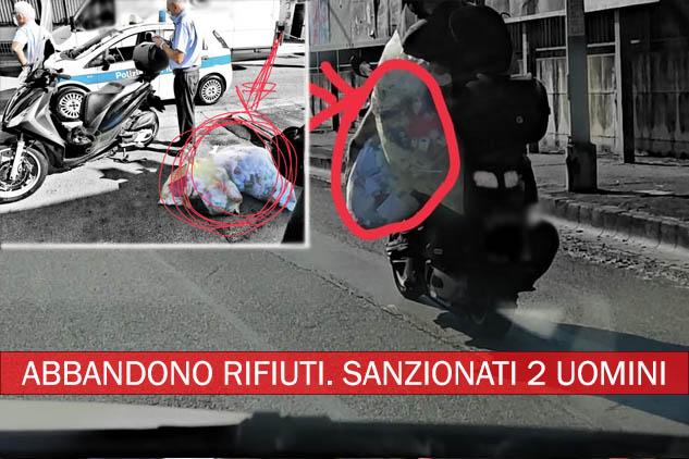Arzano. Lanciano sacchi di rifiuti da uno scooter in corsa: sanzionati 2 uomini. Tolleranza zero contro l'abbandono dei rifiuti.