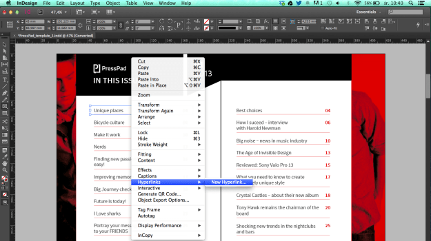 Create hyperlink in PDF using inDesign Rectangle Frame Tool