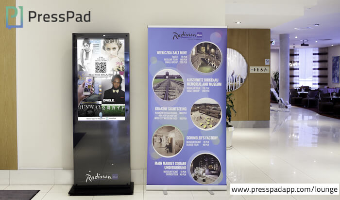 Venue Marketing, PressPad Lounge at Radisson Blu