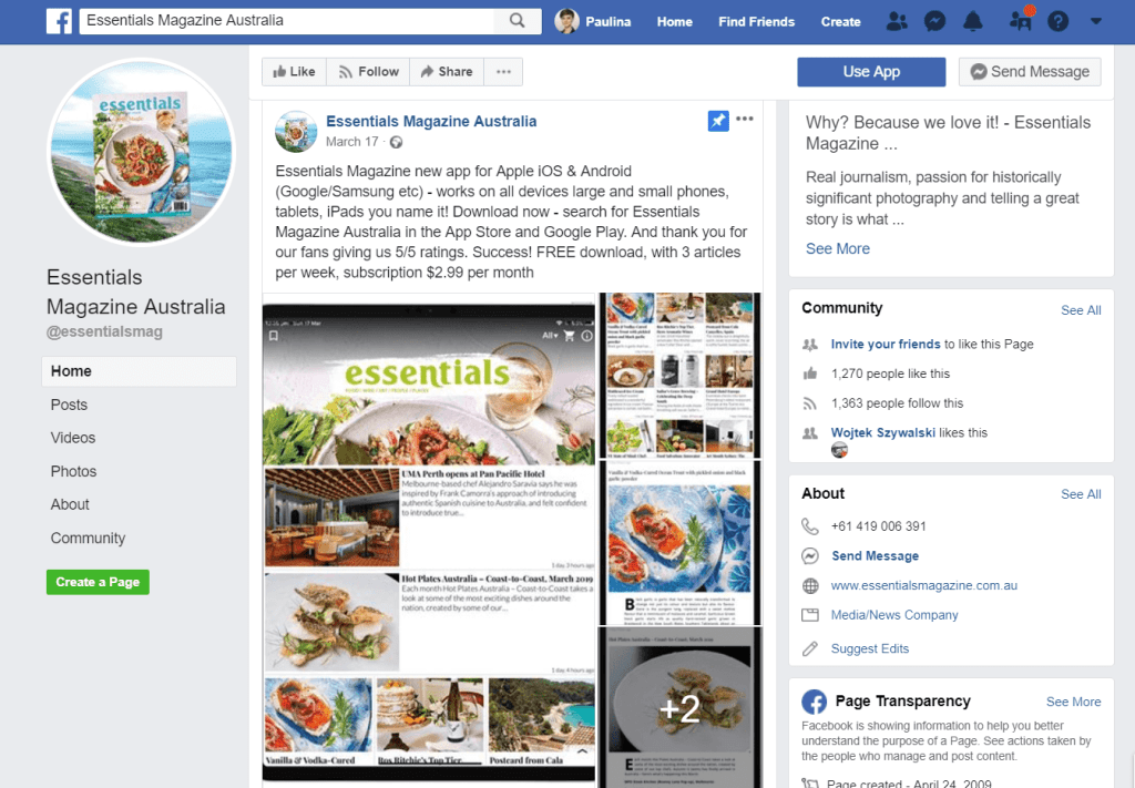 Magazine promotion on Facebook
