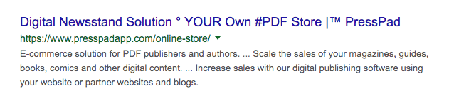 Landing page SEO title example
