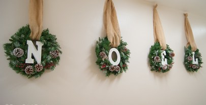 Frosted Christmas Wreaths with Letters Tutorial – NOEL