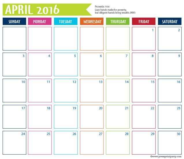 2016 Calendar for Bullet Journal -April - Press Print Party