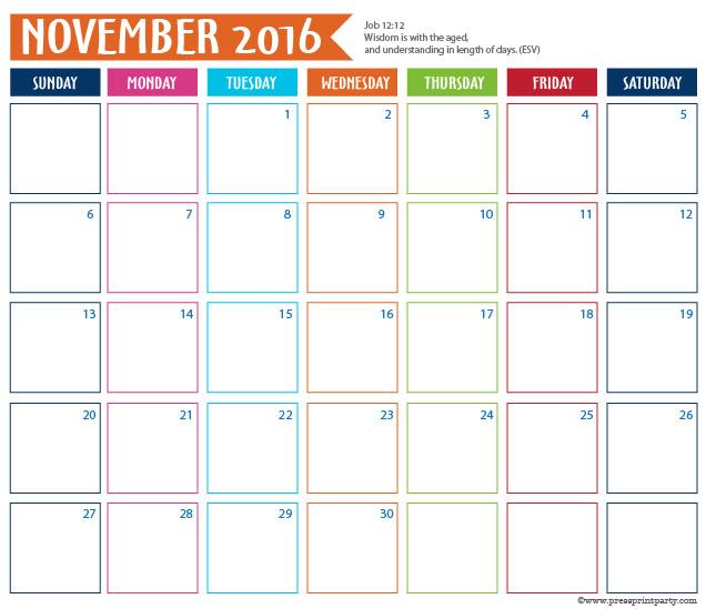 2016 Calendar for Bullet Journal - November - Press Print Party