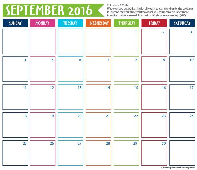 2016 Calendar for Bullet Journal -September - Press Print Party