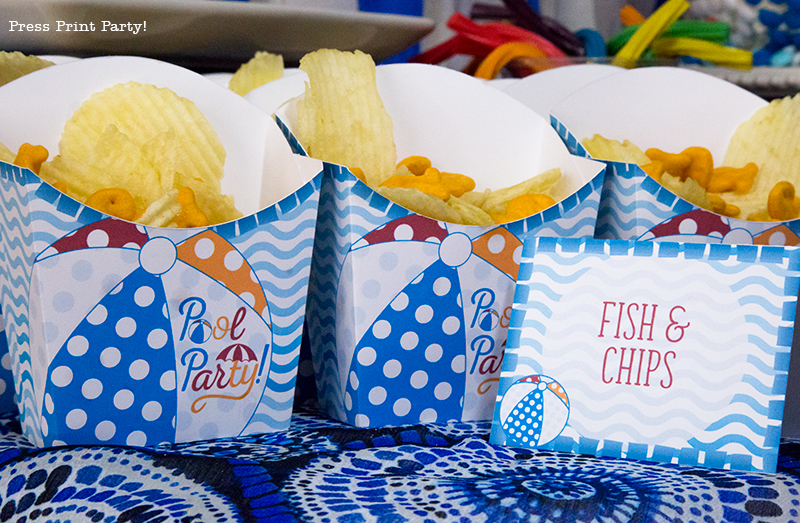 Pool Party Beach Ball Birthday Bash - Ideas and decorations by Press Print Party! Fish and chips.