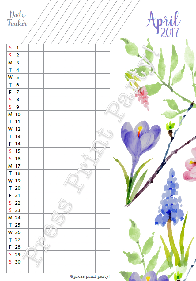 2017 Daily Task Tracker for Bullet Journals - April - Watercolors - by Press Print Party!