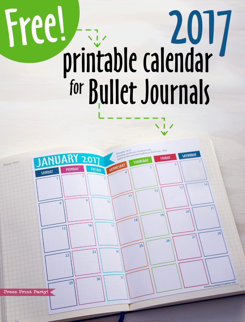 FREE 2017 Calendar for Bullet Journal - 2017 Printable Calendar - Planners and Bujos - By Press Print Party!