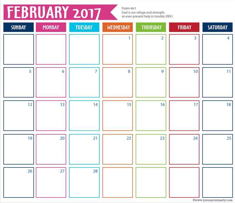 FREE 2017 Bullet Journal Printable Grid Calendar - Planners and Bujos - By Press Print Party! February 2017 calendar