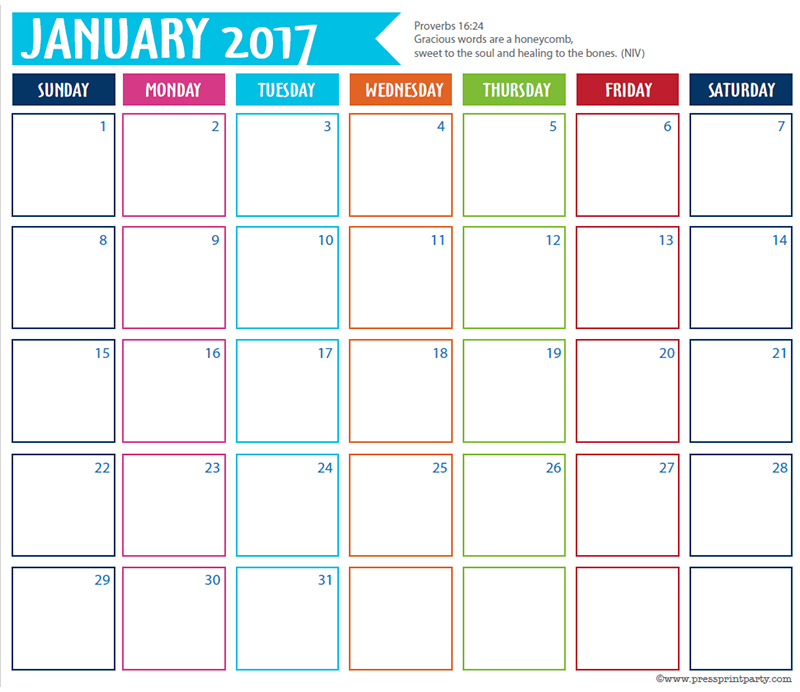 FREE 2017 Bullet Journal Printable Grid Calendar - Planners and Bujos - By Press Print Party! January 2017 calendar