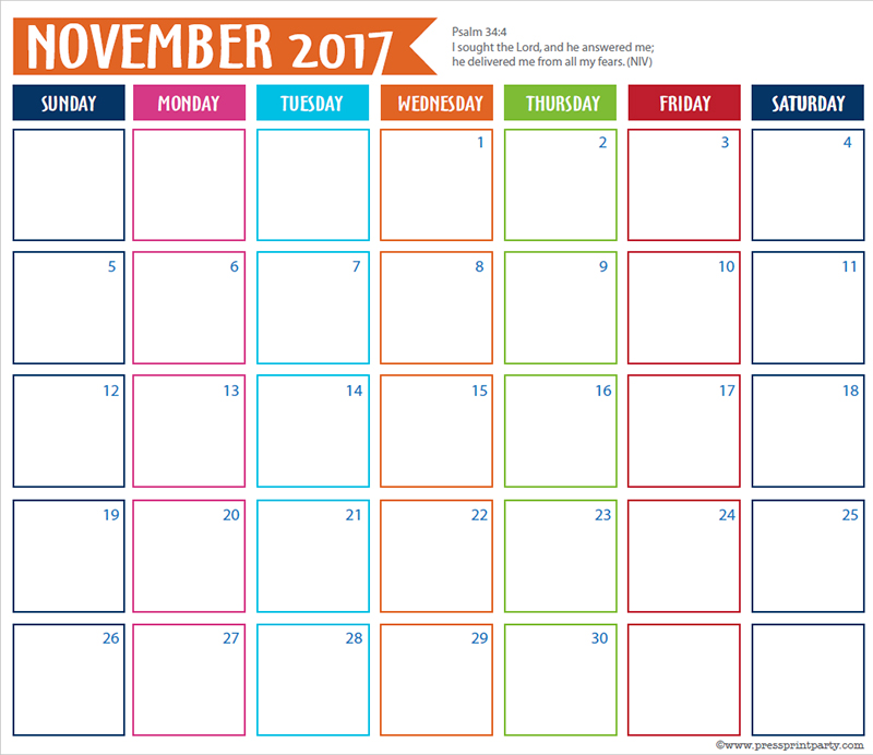 FREE 2017 Bullet Journal Printable Grid Calendar - Planners and Bujos - By Press Print Party! November 2017 calendar