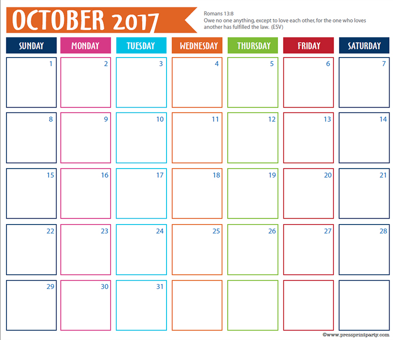 FREE 2017 Bullet Journal Printable Grid Calendar - Planners and Bujos - By Press Print Party! October 2017 calendar