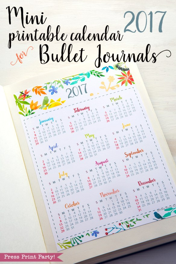 2017 Mini Calendar for Bullet Journals - Watercolor theme - By Press Print Party!