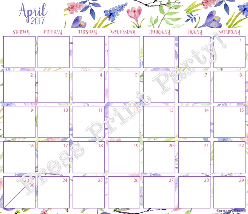 Bullet Journal Printables Calendar : Calendar printable for bullet journals watercolor